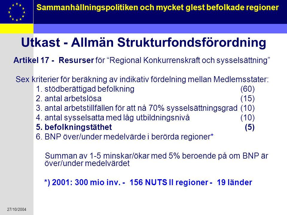 Utkast - Allmän Strukturfondsförordning