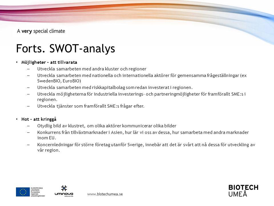 Forts. SWOT-analys Möjligheter – att tillvarata
