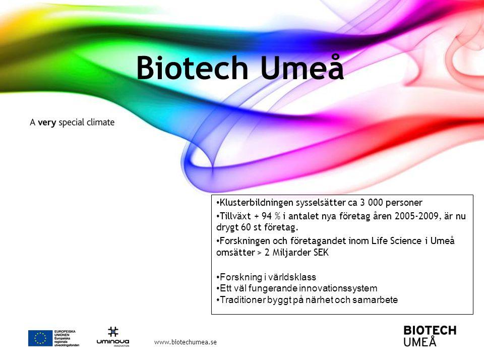 Biotech Umeå Klusterbildningen sysselsätter ca 3 000 personer