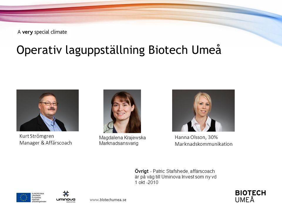 Operativ laguppställning Biotech Umeå