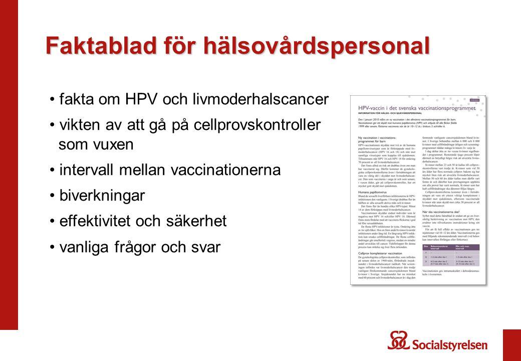 Faktablad för hälsovårdspersonal