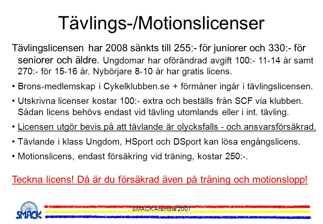 Tävlings-/Motionslicenser