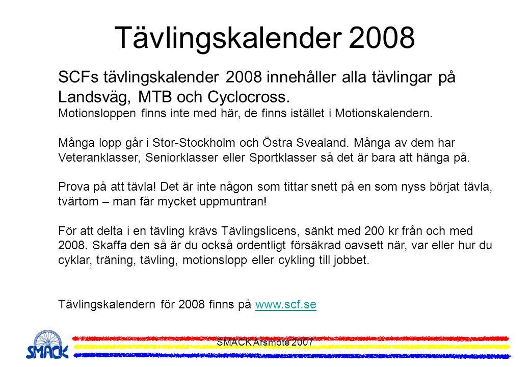 Tävlingskalender 2008 SCFs tävlingskalender 2008 innehåller alla tävlingar på Landsväg, MTB och Cyclocross.