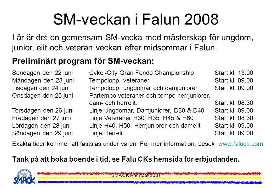 SM-veckan i Falun 2008 I år är det en gemensam SM-vecka med mästerskap för ungdom, junior, elit och veteran veckan efter midsommar i Falun.