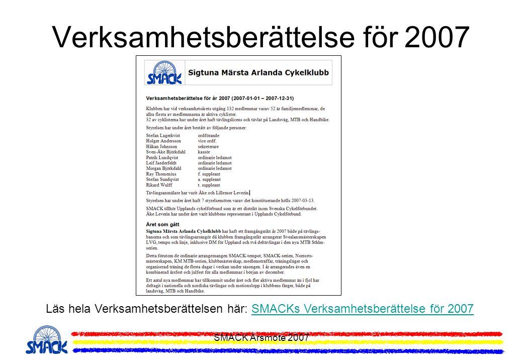 Verksamhetsberättelse för 2007