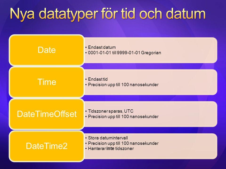 Nya datatyper för tid och datum