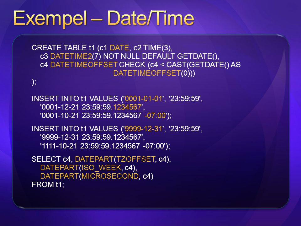 Exempel – Date/Time