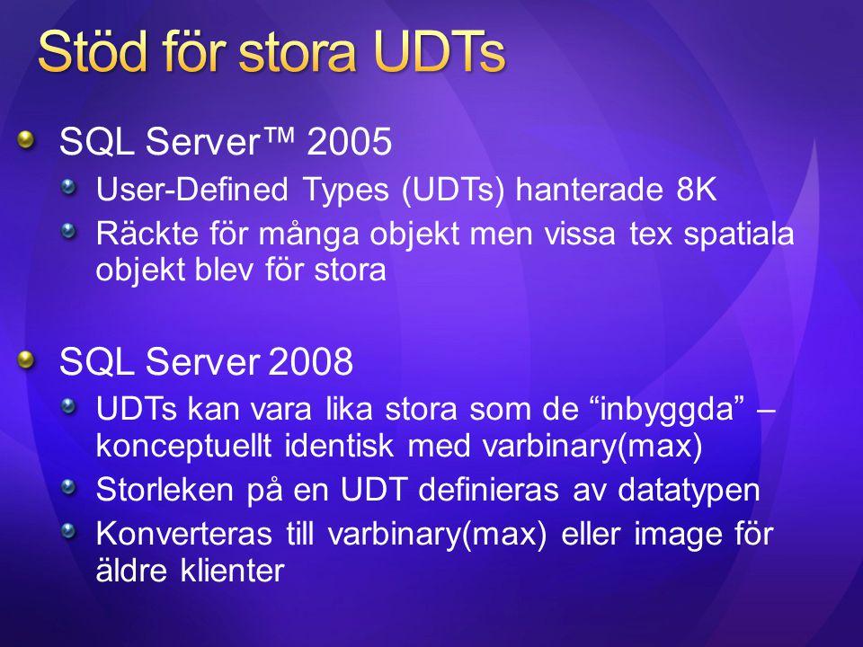 Stöd för stora UDTs SQL Server™ 2005 SQL Server 2008