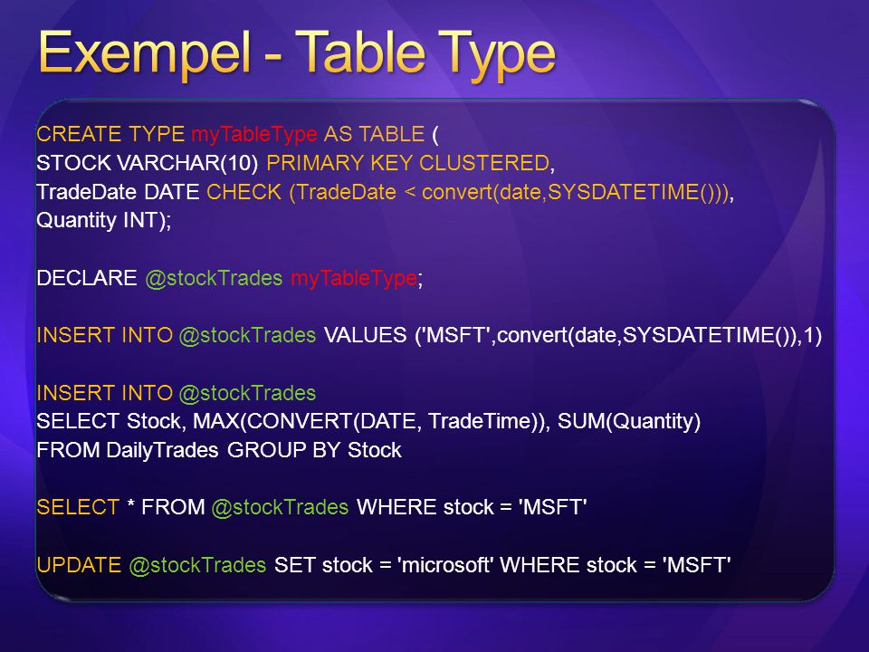 Exempel - Table Type