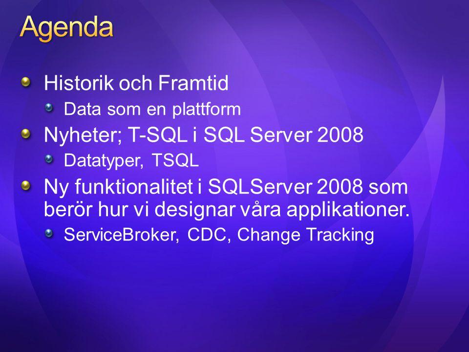 Agenda Historik och Framtid Nyheter; T-SQL i SQL Server 2008