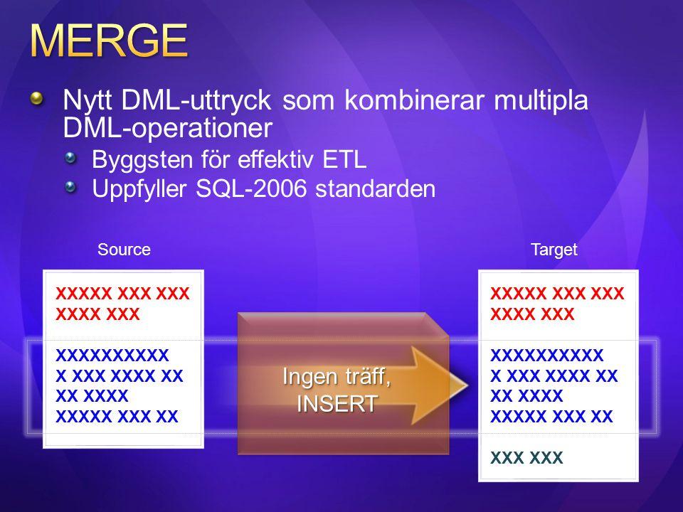 MERGE Nytt DML-uttryck som kombinerar multipla DML-operationer
