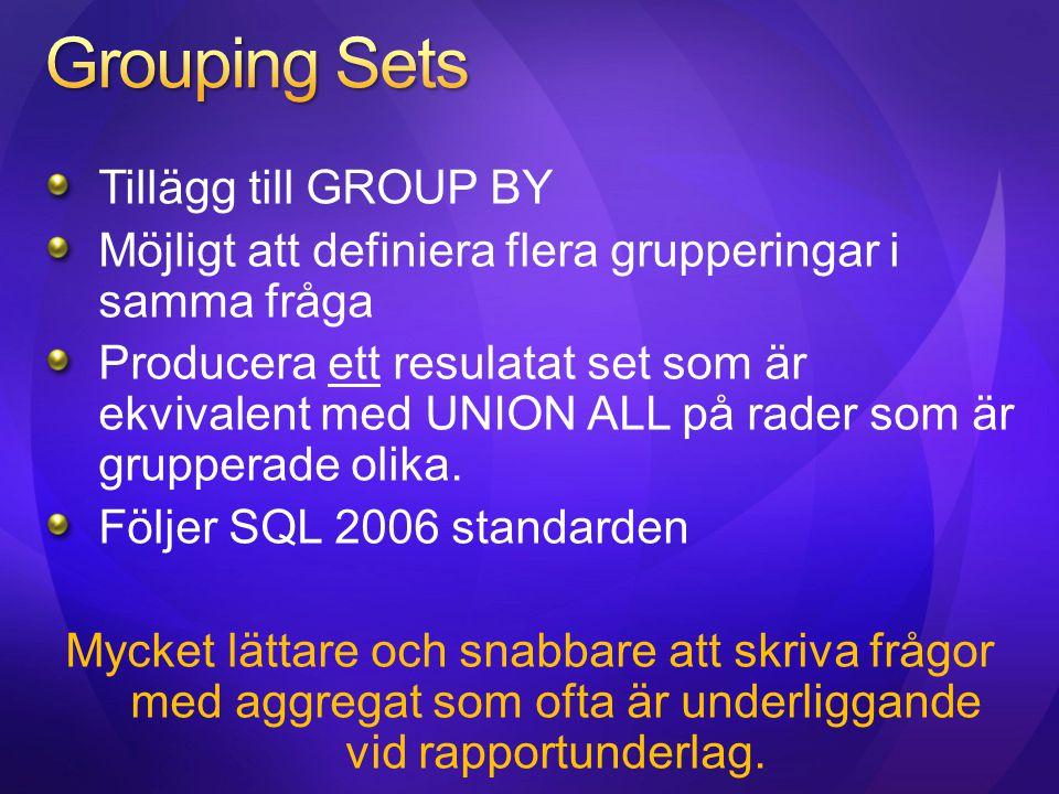 Grouping Sets Tillägg till GROUP BY