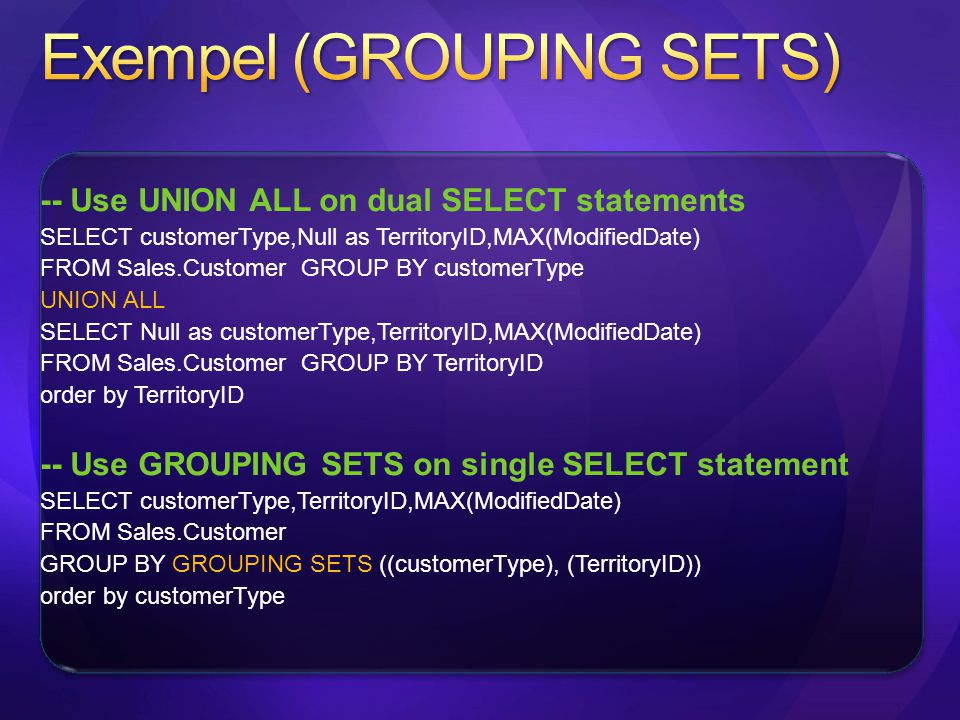 Exempel (GROUPING SETS)
