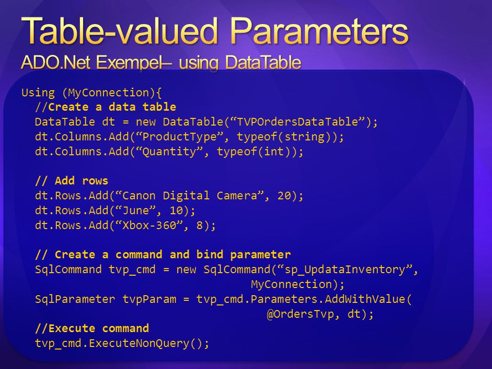 Table-valued Parameters ADO.Net Exempel– using DataTable