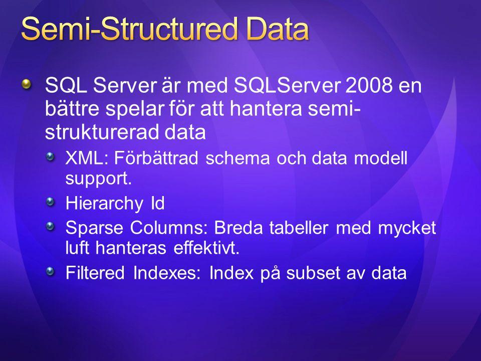 Semi-Structured Data SQL Server är med SQLServer 2008 en bättre spelar för att hantera semi-strukturerad data.