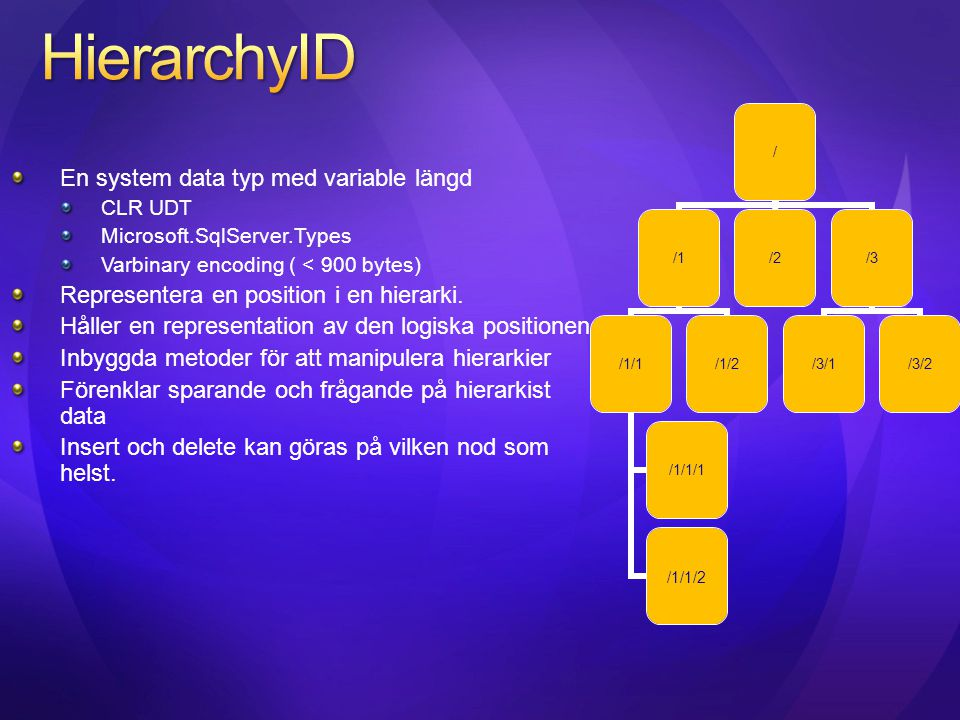 HierarchyID En system data typ med variable längd