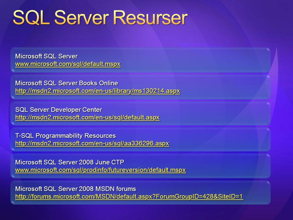 SQL Server Resurser Microsoft SQL Server
