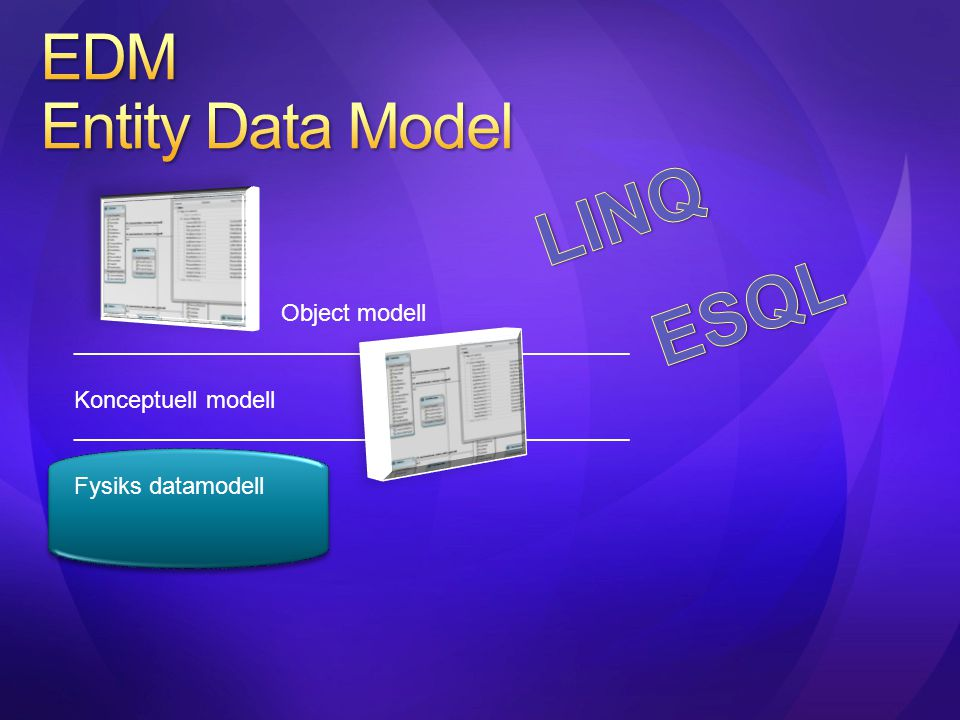 LINQ ESQL EDM Entity Data Model Object modell