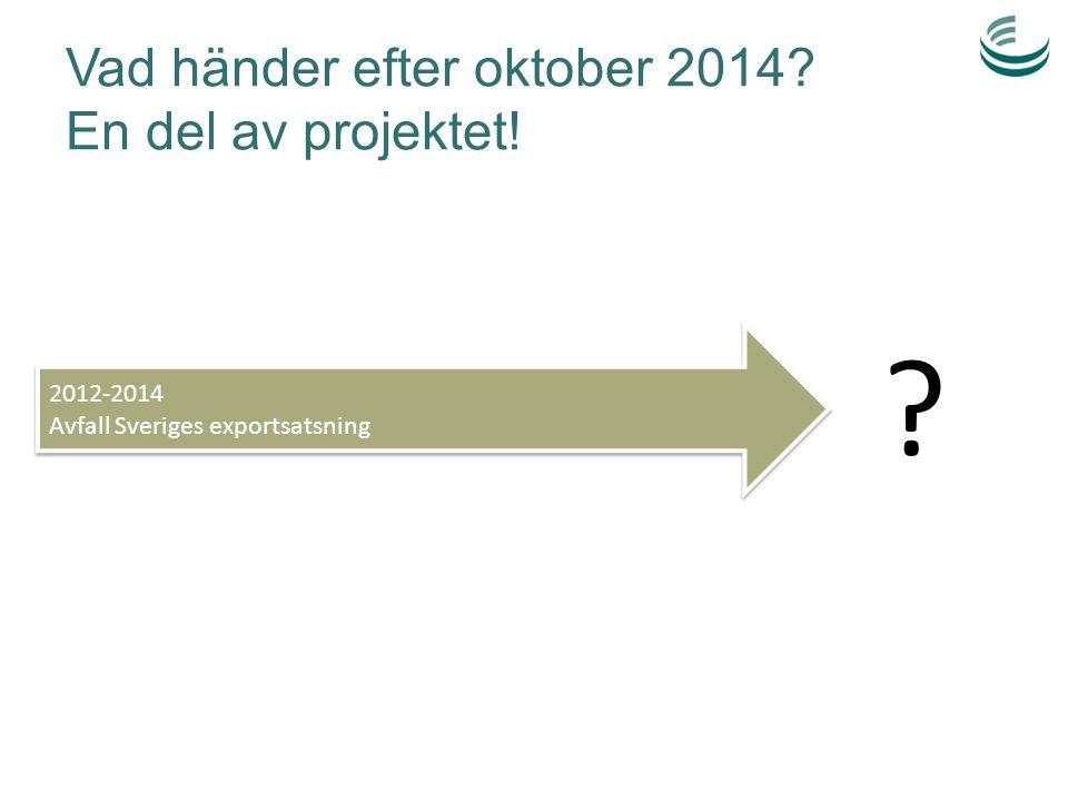 Vad händer efter oktober 2014 En del av projektet!
