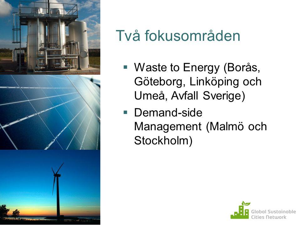 Två fokusområden Waste to Energy (Borås, Göteborg, Linköping och Umeå, Avfall Sverige) Demand-side Management (Malmö och Stockholm)
