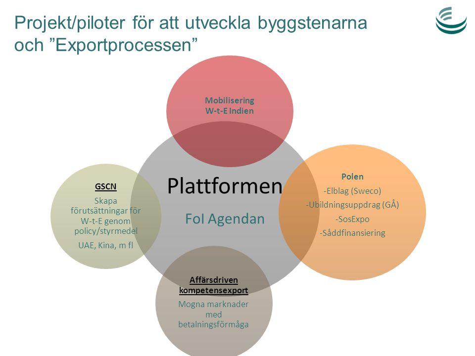 Projekt/piloter för att utveckla byggstenarna och Exportprocessen
