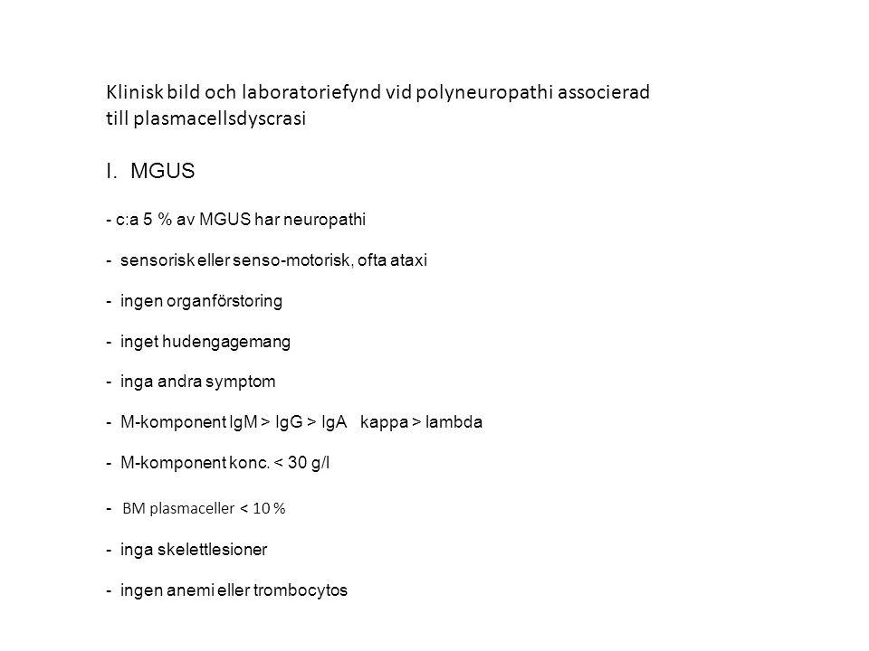 Klinisk bild och laboratoriefynd vid polyneuropathi associerad
