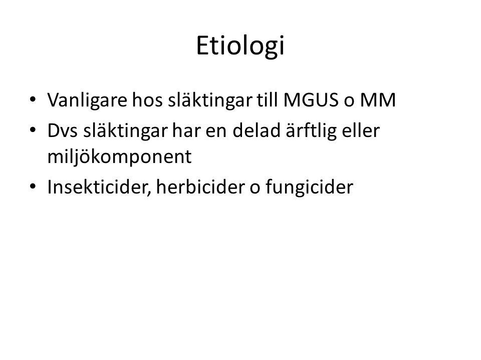 Etiologi Vanligare hos släktingar till MGUS o MM
