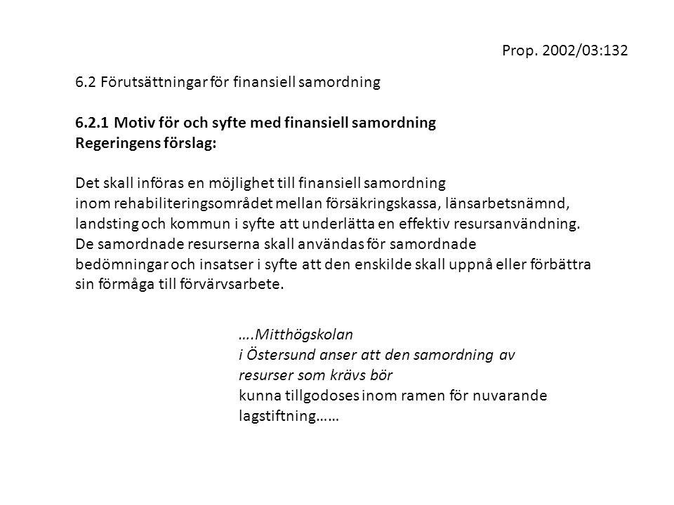Prop. 2002/03:132 6.2 Förutsättningar för finansiell samordning. 6.2.1 Motiv för och syfte med finansiell samordning.