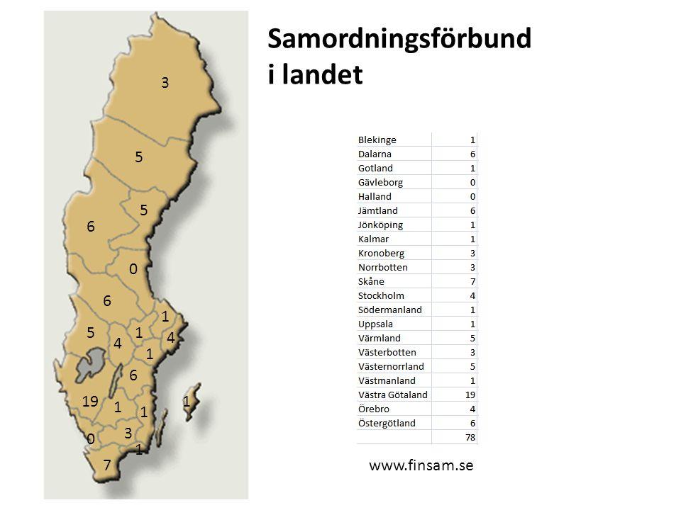 3 5 6 4 1 7 19 Samordningsförbund i landet www.finsam.se
