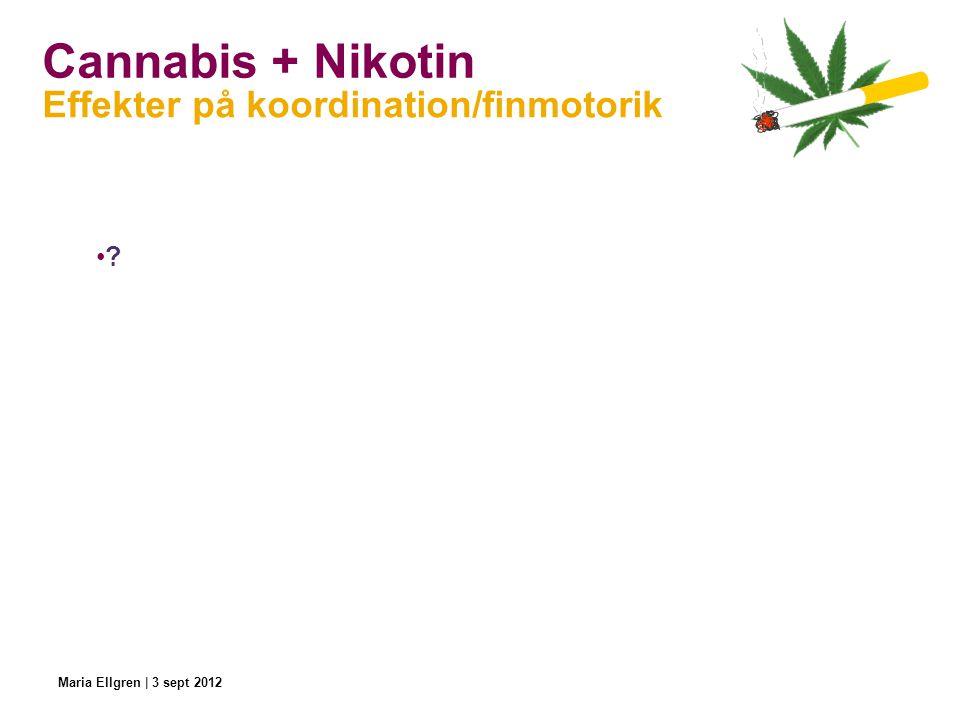Cannabis + Nikotin Effekter på koordination/finmotorik