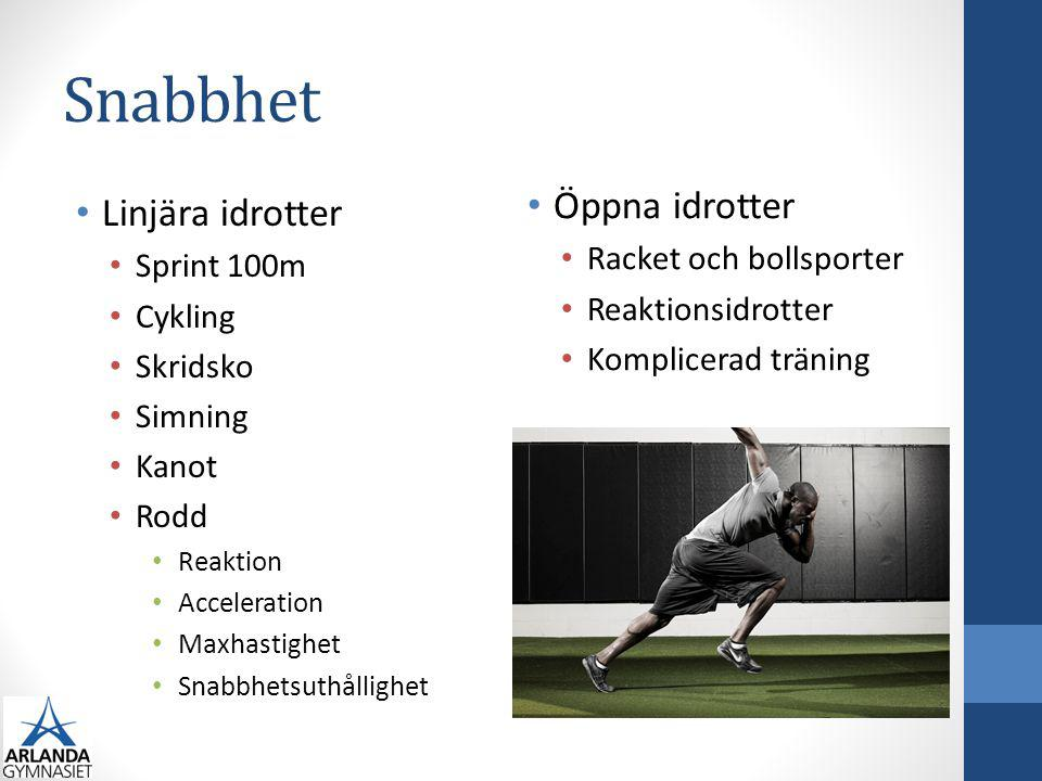 Snabbhet Öppna idrotter Linjära idrotter Racket och bollsporter