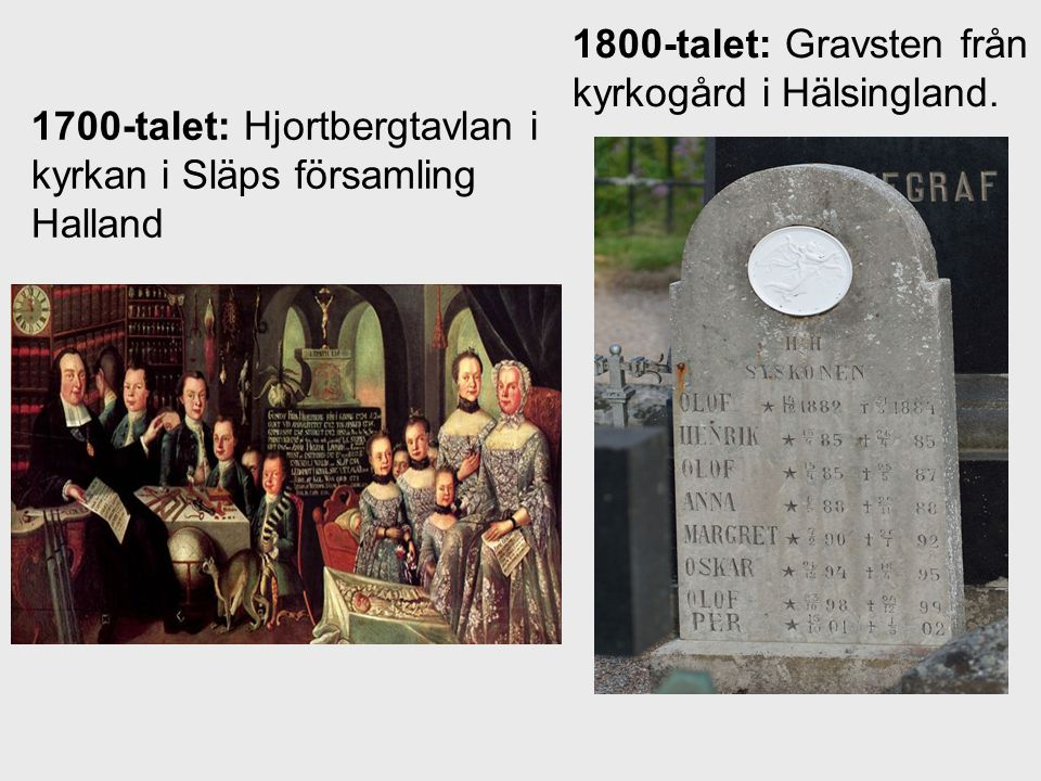 1800-talet: Gravsten från kyrkogård i Hälsingland.