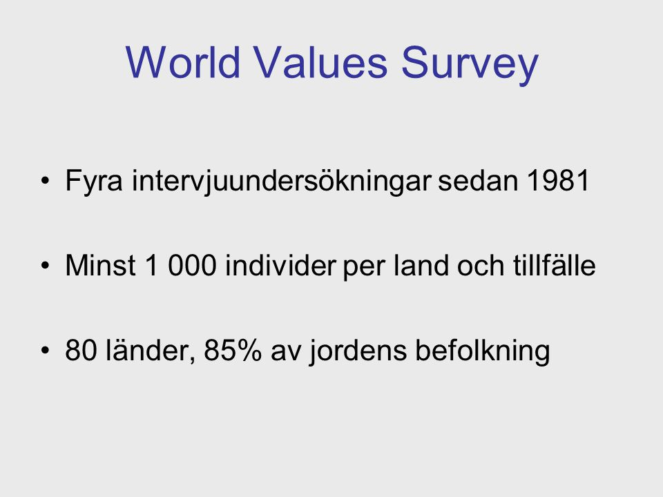 World Values Survey Fyra intervjuundersökningar sedan 1981