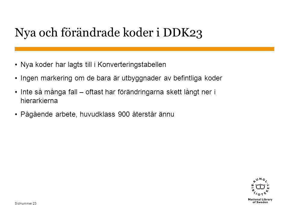 Nya och förändrade koder i DDK23