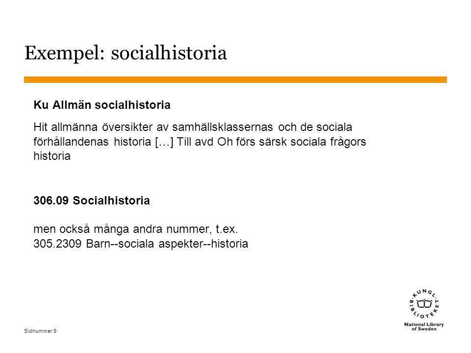 Exempel: socialhistoria