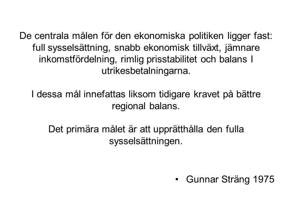 De centrala målen för den ekonomiska politiken ligger fast: full sysselsättning, snabb ekonomisk tillväxt, jämnare inkomstfördelning, rimlig prisstabilitet och balans I utrikesbetalningarna. I dessa mål innefattas liksom tidigare kravet på bättre regional balans. Det primära målet är att upprätthålla den fulla sysselsättningen.