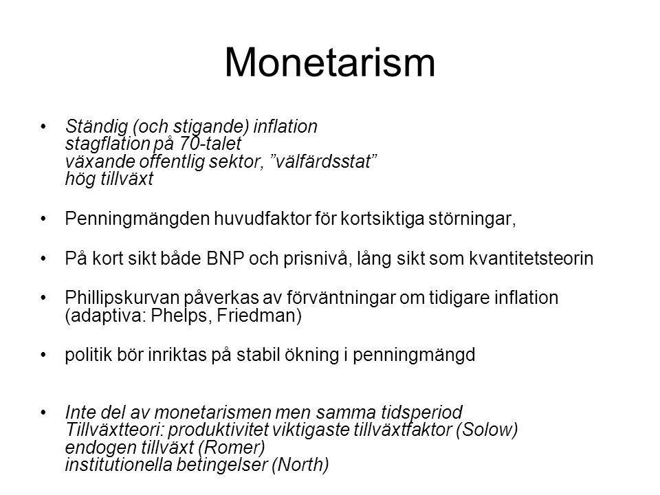 Monetarism Ständig (och stigande) inflation stagflation på 70-talet växande offentlig sektor, välfärdsstat hög tillväxt.