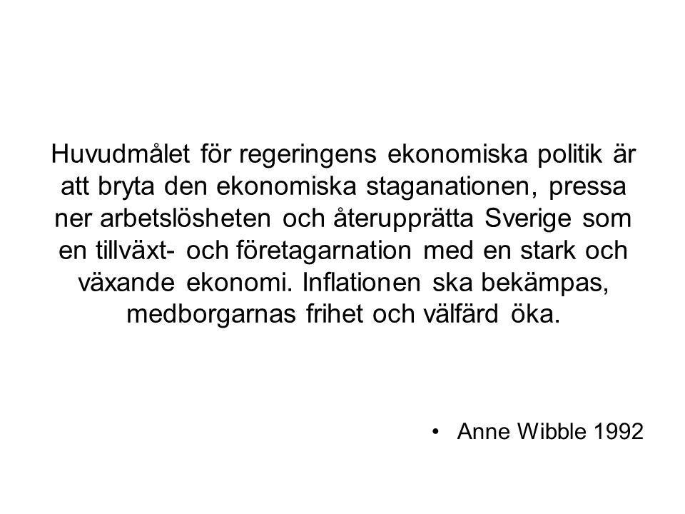 Huvudmålet för regeringens ekonomiska politik är att bryta den ekonomiska staganationen, pressa ner arbetslösheten och återupprätta Sverige som en tillväxt- och företagarnation med en stark och växande ekonomi. Inflationen ska bekämpas, medborgarnas frihet och välfärd öka.