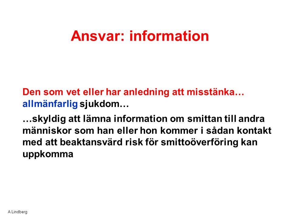 Ansvar: information Den som vet eller har anledning att misstänka… allmänfarlig sjukdom…