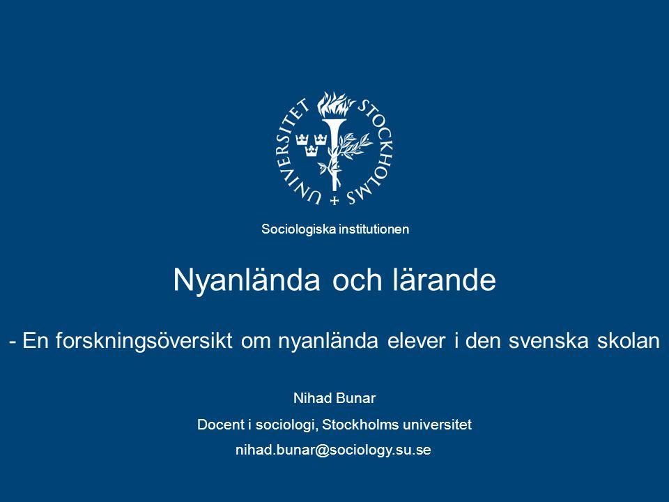 - En forskningsöversikt om nyanlända elever i den svenska skolan