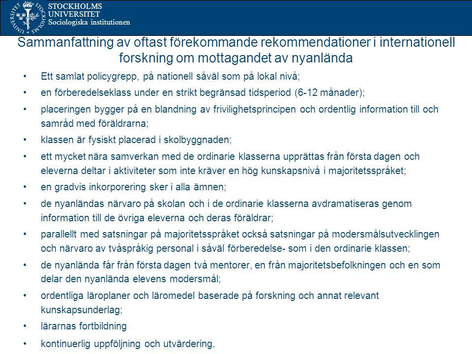 Sammanfattning av oftast förekommande rekommendationer i internationell forskning om mottagandet av nyanlända