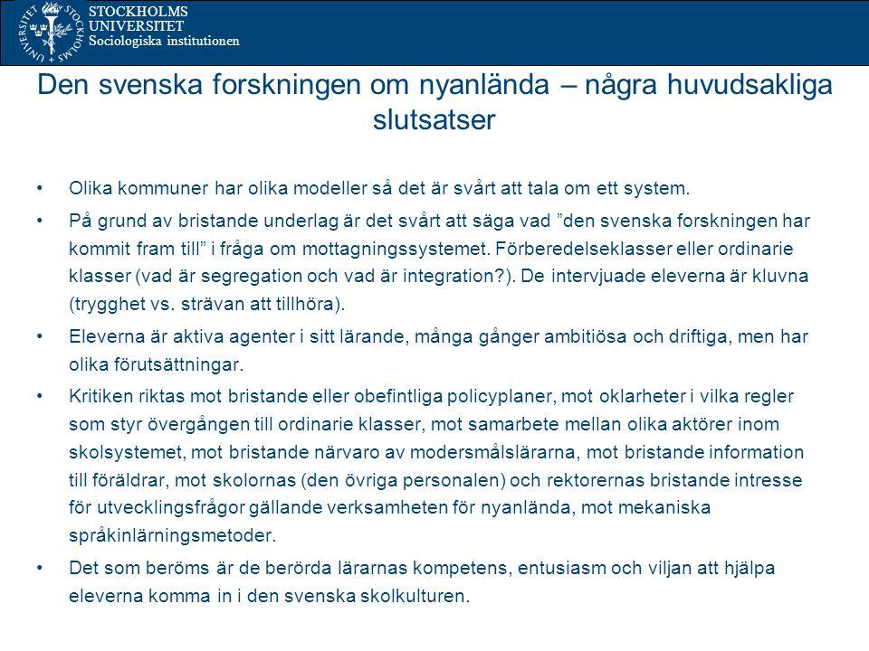 Den svenska forskningen om nyanlända – några huvudsakliga slutsatser