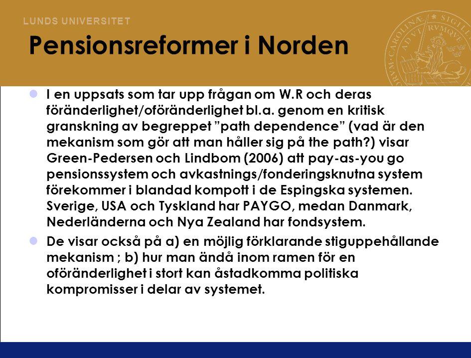 Pensionsreformer i Norden