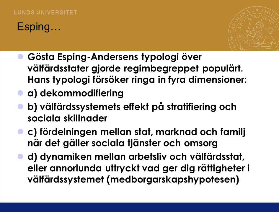 Esping… Gösta Esping-Andersens typologi över välfärdsstater gjorde regimbegreppet populärt. Hans typologi försöker ringa in fyra dimensioner: