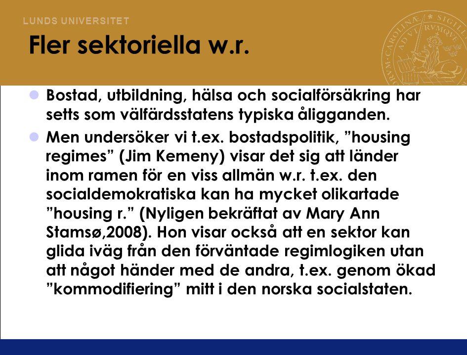 Fler sektoriella w.r. Bostad, utbildning, hälsa och socialförsäkring har setts som välfärdsstatens typiska åligganden.