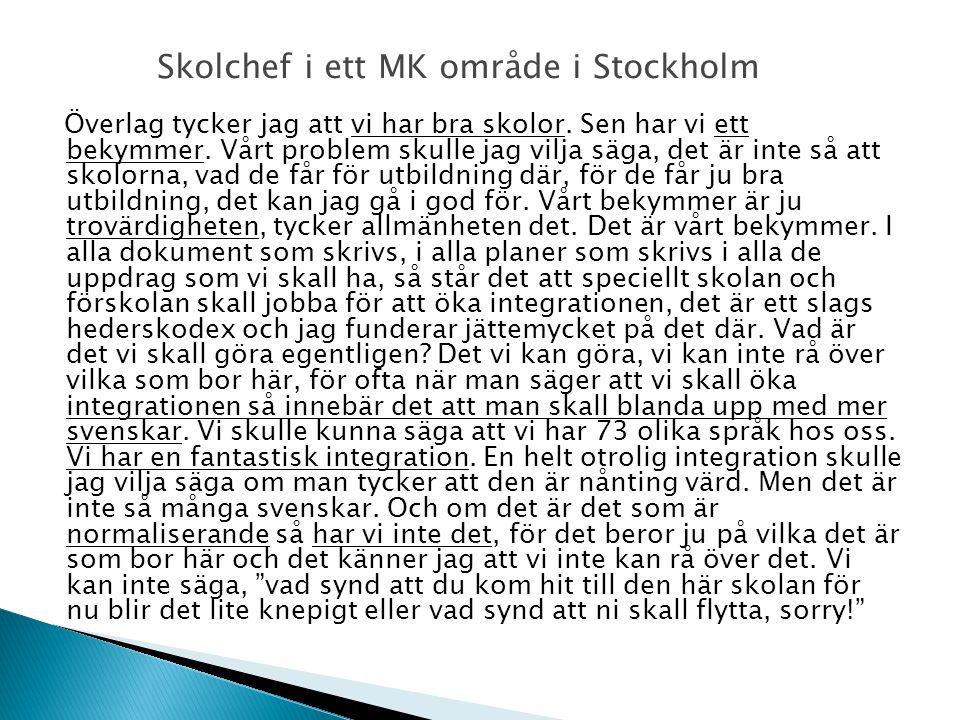 Skolchef i ett MK område i Stockholm