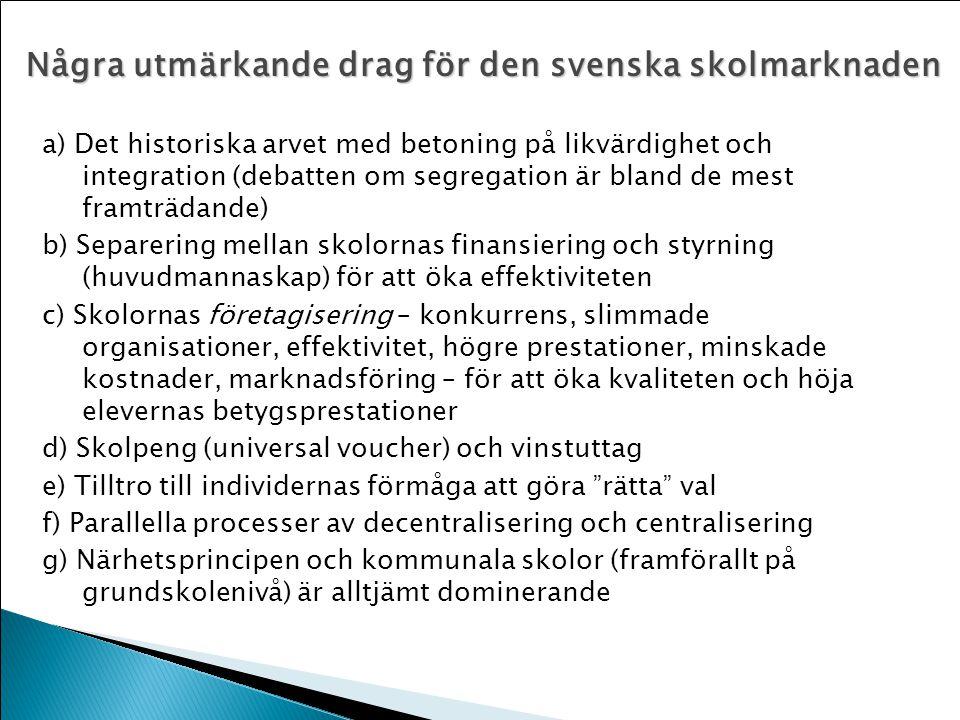 Några utmärkande drag för den svenska skolmarknaden