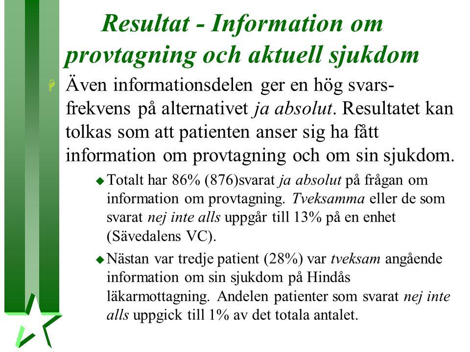 Resultat - Information om provtagning och aktuell sjukdom