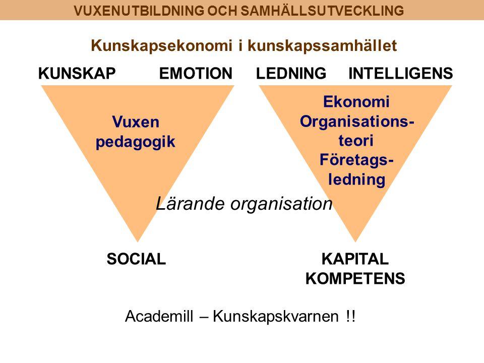 Lärande organisation Kunskapsekonomi i kunskapssamhället KUNSKAP