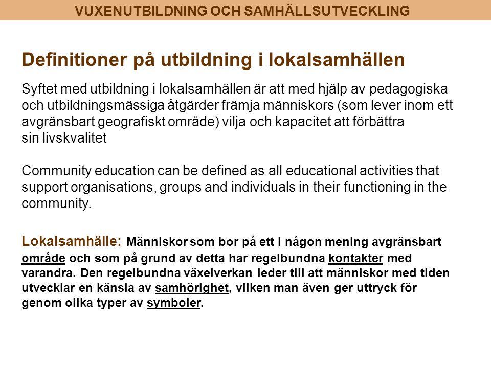 Definitioner på utbildning i lokalsamhällen